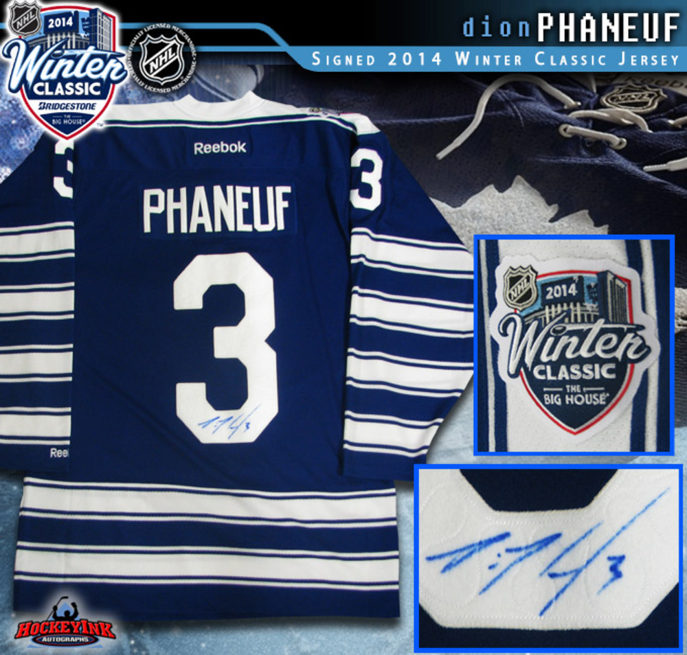 DION PHANEUF Signed 2014 NHL Winter Classic Toronto Maple Leafs Reebok Jersey