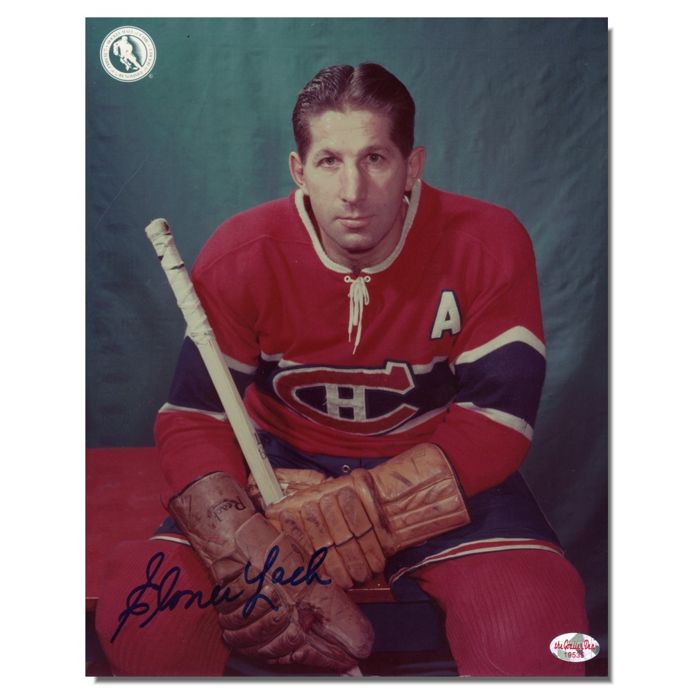Elmer Lach Autographed Montreal Canadians 8x10 Photo