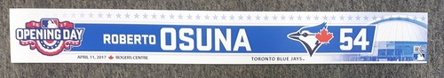 Photo of Authenticated Game Used 2017 Home Opener Locker Tag - #54 Roberto Osuna