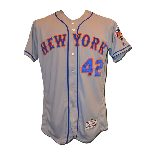 Photo of Dave Racaniello #58 - Game Used Jackie Robinson Jersey - Mets vs. Marlins - 4/15/17