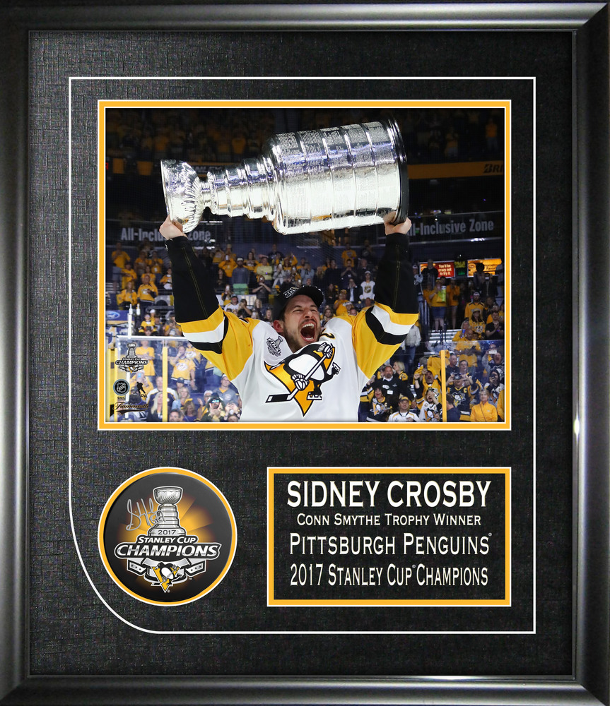 Sidney Crosby - Signed & Framed 2017 Stanley Cup Penguins Puck with 8x10