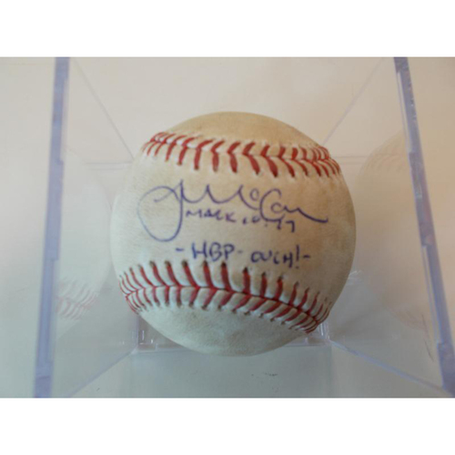 Photo of Autographed Game-Used Baseball: James McCann Hit by Pitch