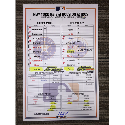 Photo of Game-Used Lineup Card: Astros vs Mets (09/03/17)