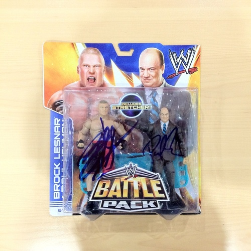 Brock Lesnar & Paul Heyman SIGNED Battlepack Action Figures