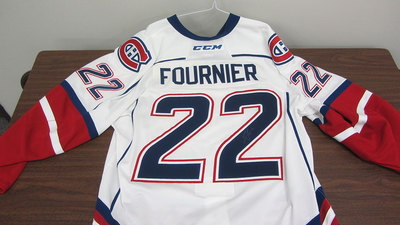 AHL WHITE GAME ISSUED STEFAN FOURNIER JERSEY SIGNED
