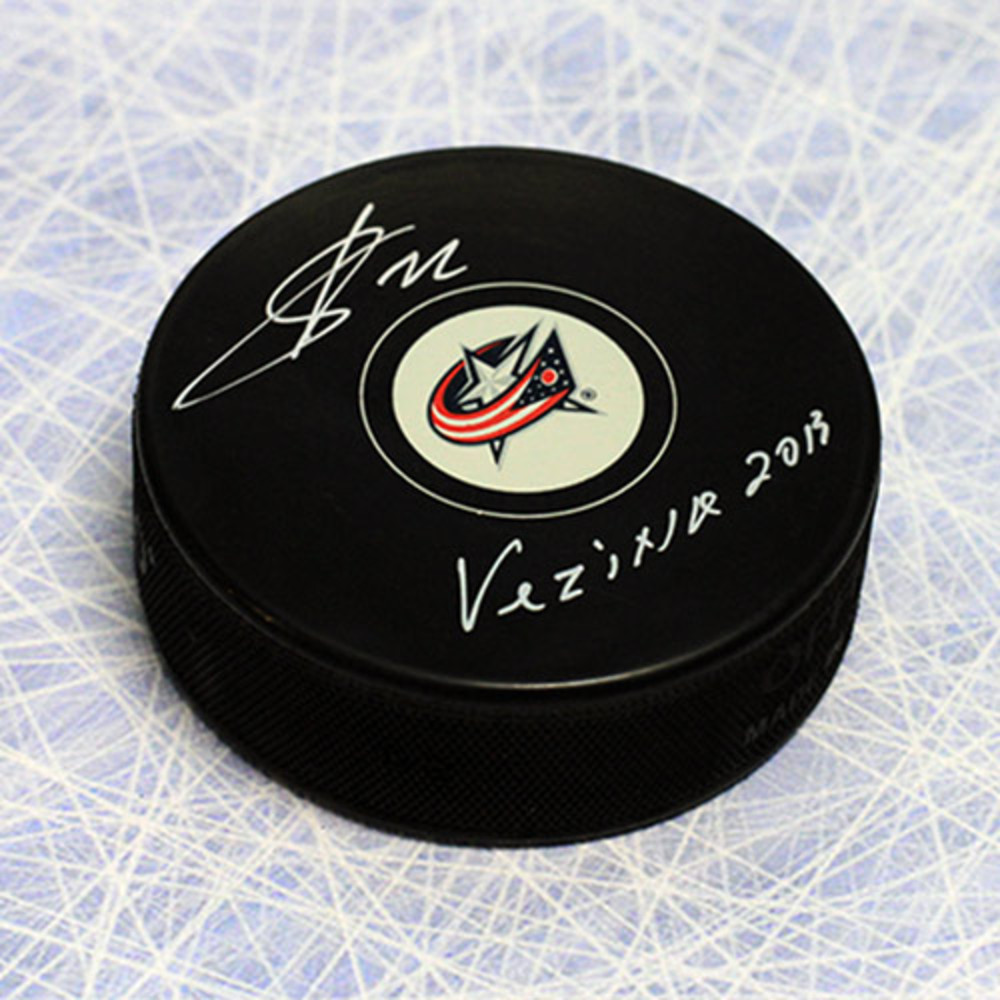 Sergei Bobrovsky Columbus Blue Jackets Autographed Hockey Puck with 2013 Vezina