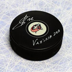 Sergei Bobrovsky Columbus Blue Jackets Autographed Hockey Puck with 2013 Vezina
