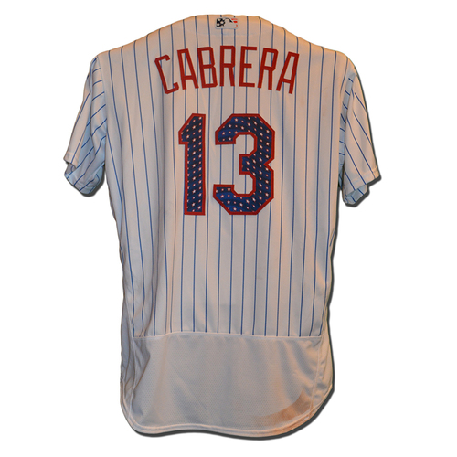 Photo of Asdrubal Cabrera #13 - Game Used White Pinstripe 4th of July Jersey - Mets vs. Phillies - 7/2/17