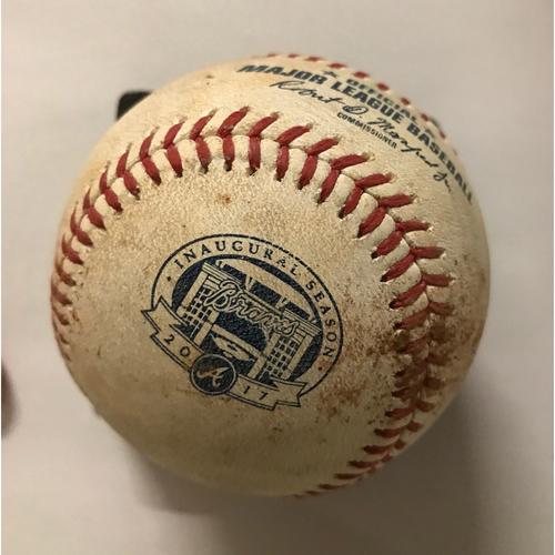 Photo of Logan Forsythe Game-Used Hit Single Baseball - August 3, 2017