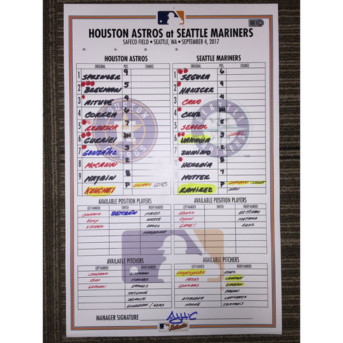 Photo of Game-Used Lineup Card: Astros at Mariners (09/04/17)