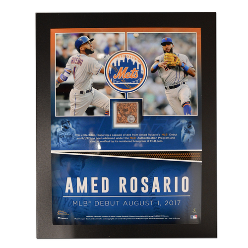 Photo of Amed Rosario Debut Plaque - Features Game Used Dirt from MLB Debut