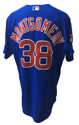 Photo of Mike Montgomery Game-Used Jersey -- Montgomery 4 IP, 1 ER -- 2016 World Champion Season -- NLDS Game 3 -- Cubs vs Giants -- 10/10/16