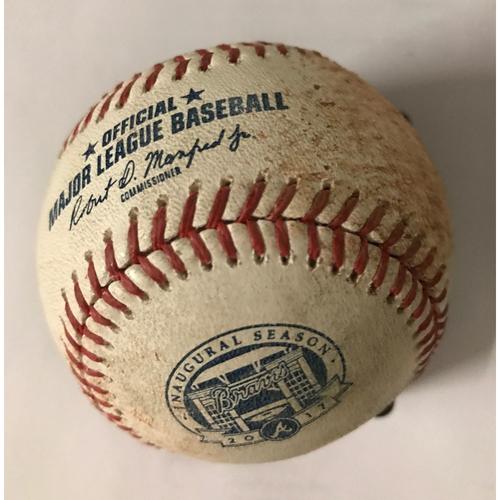 Photo of Chase Utley Game-Used Hit Single Baseball - August 1, 2017