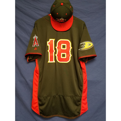 Photo of Anaheim Ducks Los Angeles Angels Charity Auction: Luis Valbuena Game-Used Batting Practice Jersey, Ducks Signed Cap and Signed Ball