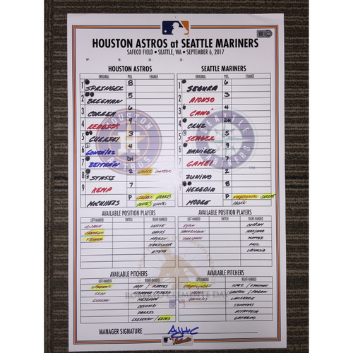 Photo of Game-Used Lineup Card: Astros at Mariners (09/06/17)