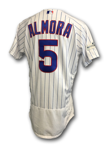 Photo of Albert Almora 2017 Postseason Game-Used Jersey -- 10/11 vs. Nationals: NLDS Game 4 -- 10/17 vs. Dodgers: NLCS Game 3; Almora Pinch-Hit Double