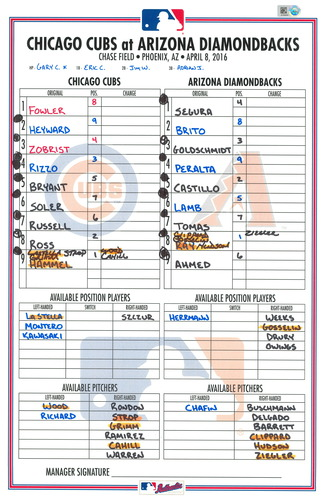 Photo of Game-Used Lineup Card --  Diamondbacks vs Cubs -- 4/8/16 -- Hammel (6 IP, 1 ER) -- Chicago Cubs World Champion 2016 Regular Season