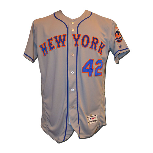 Photo of Wilmer Flores #4 - Game Used Jackie Robinson Jersey - Flores Goes 1-4 - Mets vs. Marlins - 4/15/17