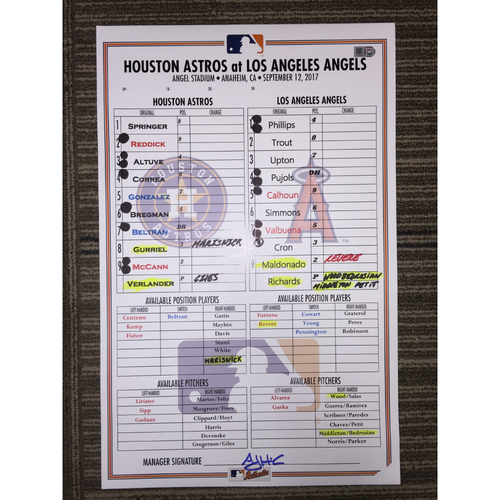 Photo of Game-Used Lineup Card: Astros at Angels (09/12/17)