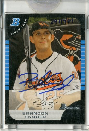 Photo of 2006 Bowman Originals Buyback Autographs #141 Brandon Snyder 05 BDP/461 D