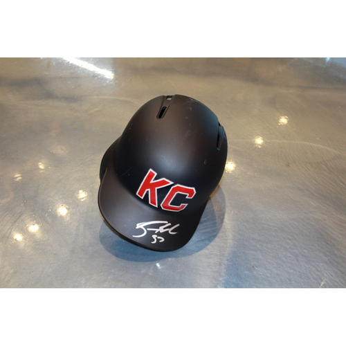 Photo of Brandon Moss Game-Used Kansas City Monarchs Helmet (5/7/2017) (Size 7 1/4)