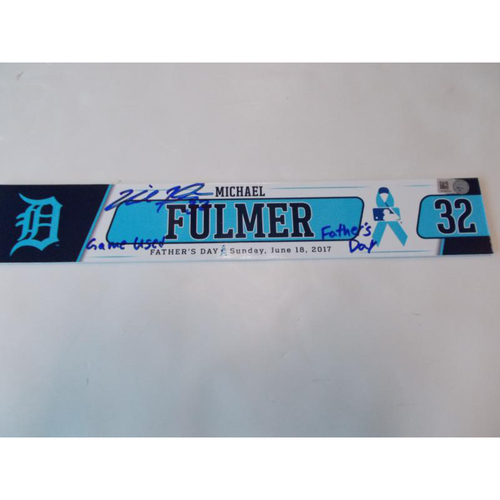 Photo of Autographed Game-Used Locker Name Plate: Michael Fulmer Father's Day