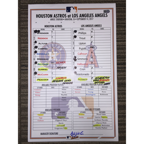Photo of Game-Used Lineup Card: Astros at Angels (09/14/17)