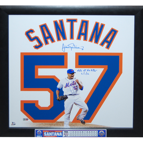 "Photo of Johan Santana - Autographed Uniframe - Inscribed ""Mets 1st No Hitter 6/1/12"" - Limited Edition of 57"