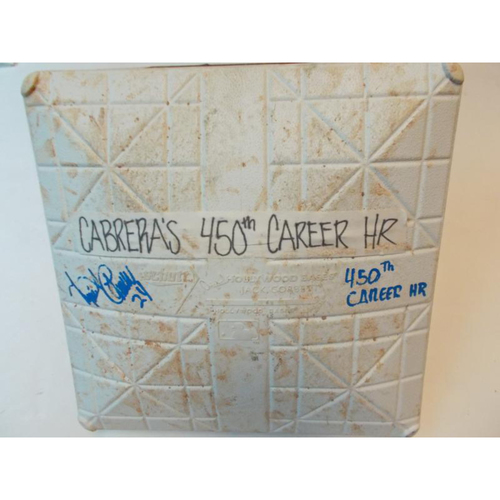 Photo of Autographed Game-Used Base: Miguel Cabrera 450th Career Home Run