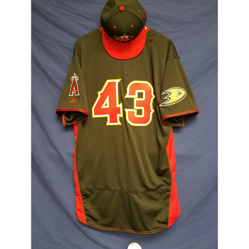 Photo of Anaheim Ducks Los Angeles Angels Charity Auction: Garrett Richards Game-Used Batting Practice Jersey, Ducks Signed Cap and Signed Ball