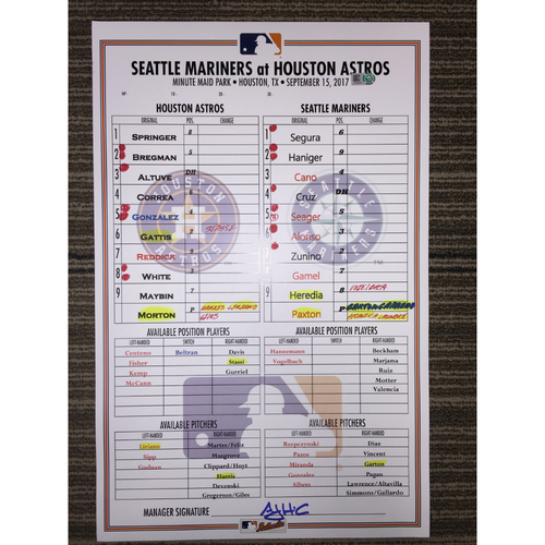 Photo of Game-Used Lineup Card: Astros vs Mariners (09/15/17)