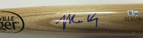 Photo of Matt Kemp Autographed Blonde Louisville Slugger Bat