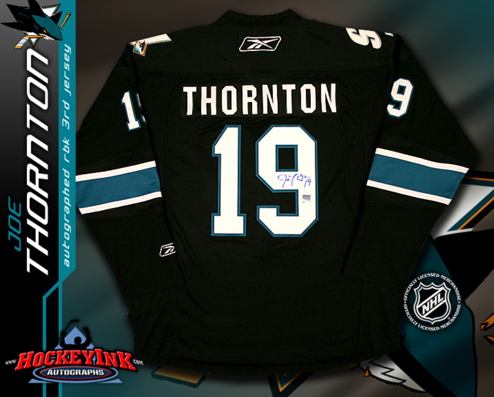 JOE THORNTON Signed San Jose Sharks RBK Premier 3rd Jersey