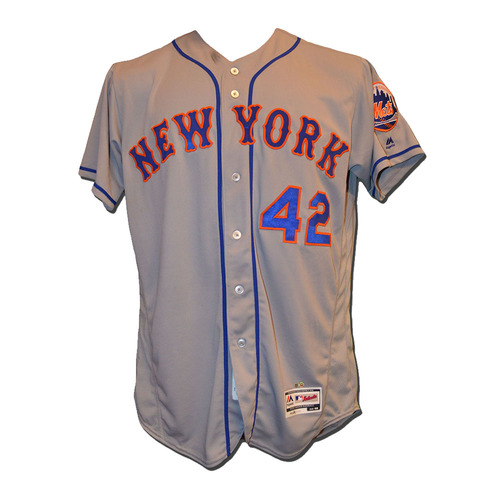 Photo of Rene Rivera #44 - Game Used Jackie Robinson Jersey - Mets vs. Marlins - 4/15/17