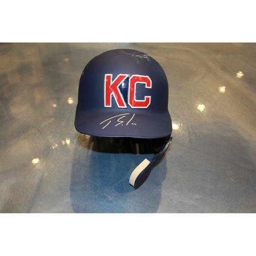 Photo of Jorge Soler Autographed Game-Used Kansas City Monarchs Helmet (5/7/2017) (Size 7 1/4)