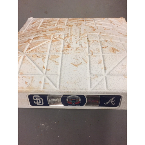 Photo of Game-Used 1st Base used 4-6 Innings on April 15, 2017 - First Series at SunTrust Park - Braves Swept the Padres