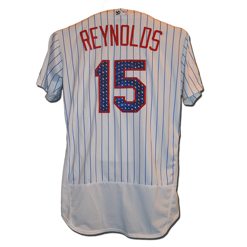 Photo of Matt Reynolds #15 - Reynolds Goes 1-1 - Game Used White Pinstripe 4th of July Jersey - Mets vs. Phillies - 7/2/17