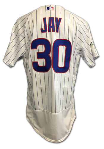 Photo of Jon Jay 2017 Postseason Game-Used Jersey -- 10/11 vs. Nationals: NLDS Game 4 -- 10/17 vs. Dodgers: NLCS Game 3