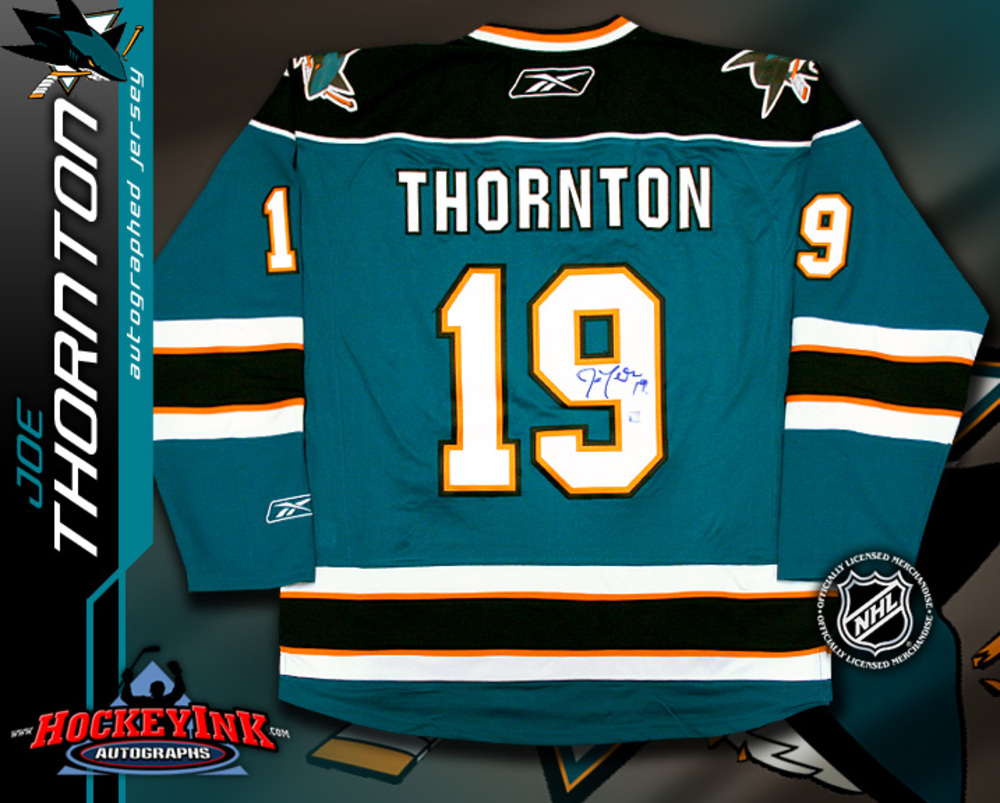 JOE THORNTON Signed RBK Premier Teal San Jose Sharks Jersey