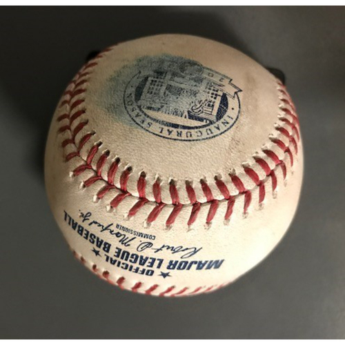 Photo of Ozzie Albies Game-Used Hit Triple Baseball - August 21, 2017
