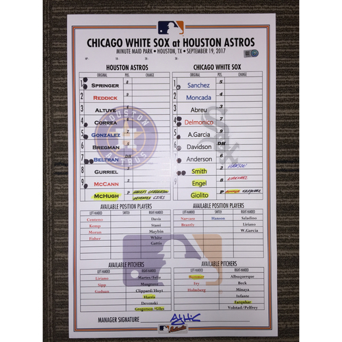 Photo of Game-Used Lineup Card: Astros vs White Sox (09/19/17)