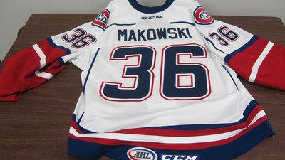 AHL WHITE GAME ISSUED DAVID MAKOWSKI JERSEY