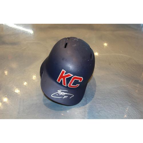 Photo of Eric Hosmer Autographed Game-Used Kansas City Monarchs Helmet (5/7/2017) (Size 7 3/8)