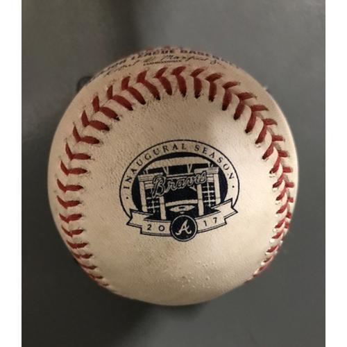 Photo of Ender Inciarte Game-Used Hit Single Baseball - September 6, 2017