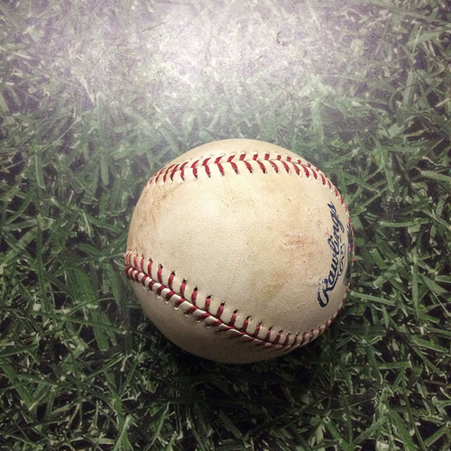Photo of Game-Used Baseball SF@MIL 06/08/17 - Johnny Cueto to Travis Shaw: Double