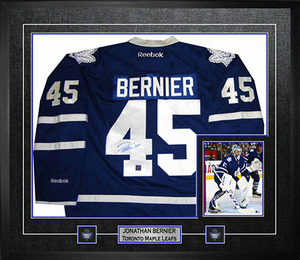 Jonathan Bernier - Signed & Framed Toronto Maple Leafs Blue Jersey - Featuring 8x10 Action Photo