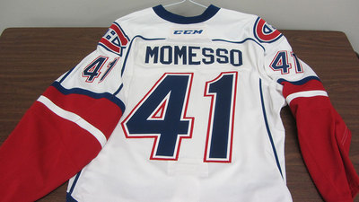AHL WHITE GAME ISSUED STEFANO MOMESSO JERSEY