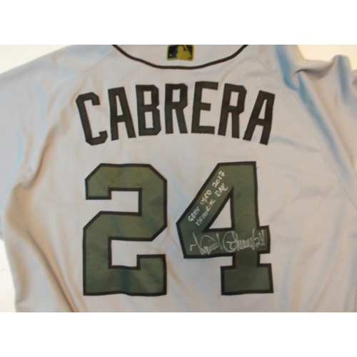 Autographed Game-Used Miguel Cabrera Memorial Day Jersey