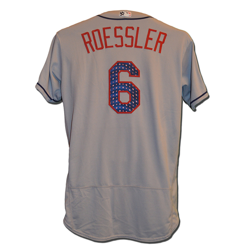 Photo of Pat Roessler #6 - Game Used Road Grey 4th of July Jersey - Mets vs. Nationals - 7/4/17