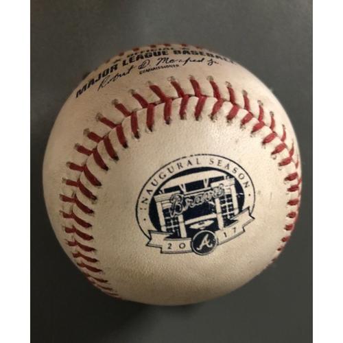 Photo of Dansby Swanson Game-Used Hit Single Baseball - September 6, 2017